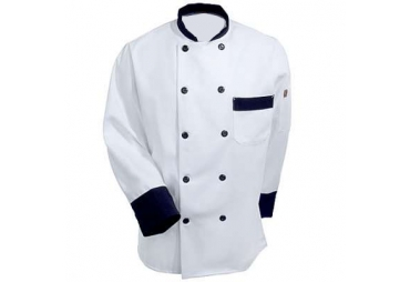 Unisex Long Sleeve Black Trim Chef Coat