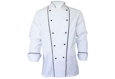 Executive chef jacket with double piping