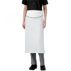 White Waist Apron with Piping 006