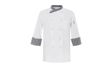 Checkered Collar & Cuff Chef Coat 008