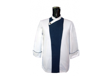 White & Blue Chef Coat 009