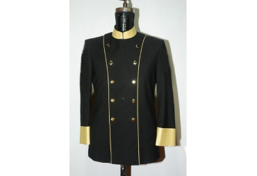 Black With Golden Piping Chef Coat 010