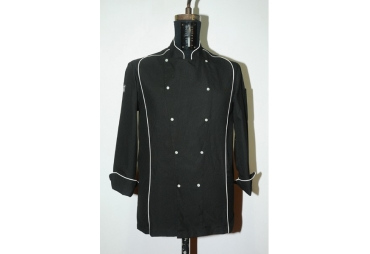 Black Chef Coat with White Piping 011