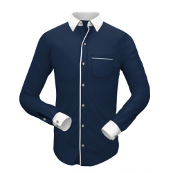 Stylish Blue with White Matching Formal Shirt 006